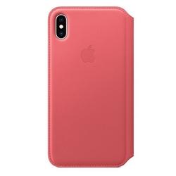 Apple skórzane etui folio iphone xs max - zgaszony róż