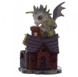 Zielony smok na domku quot;opiekun snówquot; - figurka fantasy wzór nr 2