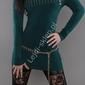 Sweter z wywijanym kołnierzem - carmen , ciemna zieleń, 30 wełna+ sztuczny jedwab 3312