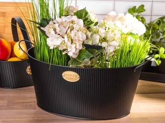 Koszyk  pojemnik z uchwytami metalowy dekoracyjny owalny altom design czarny 37 x 29 x 18 cm
