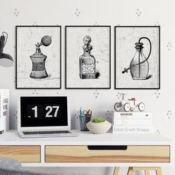 Perfum art - komplet plakatów w ramach , wymiary - 30cm x 40cm 3 sztuki, kolor ramki - biały