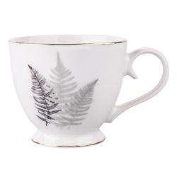 Duży kubek na stópce  filiżanka jumbo porcelanowa na prezent altom design modern nature 430 ml, dekoracja black plant ii