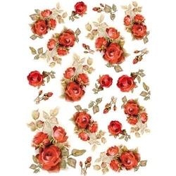 Papier ryżowy Stamperia A4 czerwone róże