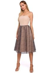 Beżowa sukienka gorsetowa z rozkloszowanym dołem w cętki