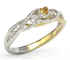 Pierścionek z białego i żółtego złota z miodowym topazem swarovski i diamentami bp-76bz