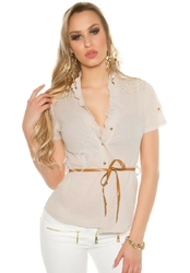 Koszula bawełniana, zdobiona jetami z paseczkiem   beżowa bluzka koszulowa 6099