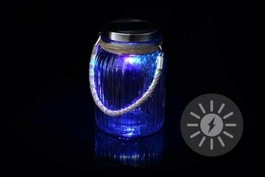 Lampion szklany solarny led, kolorowy