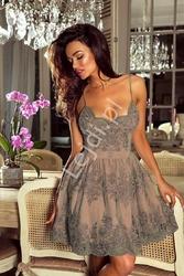 Koronkowa sukienka z cekinami viktoria, kawa z mlekiem