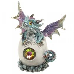 Smocze jajo z kryształem i niebieski smok - figurka fantasy