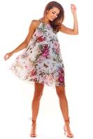 Biała letnia oversizowa sukienka w kwiaty