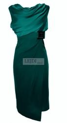 Szmaragdowa sukienka midi na wesele, 7 kolorów r.34 - r.52, mon 146