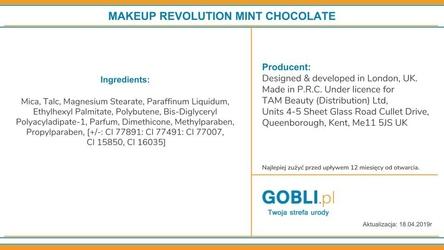 Makeup revolution 16 eyeshadows i love makeup mint chocolate, różnorodna paleta cieni 22g