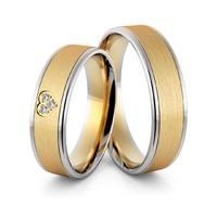Obrączki ślubne dwukolorowe z sercem i brylantami - au-975