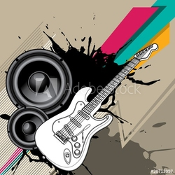 Obraz na płótnie canvas dwuczęściowy dyptyk tło miejskie z gitarą elektryczną.