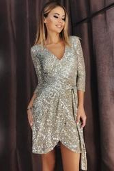 Krótka wieczorowa sukienka cekinowa srebrna  121