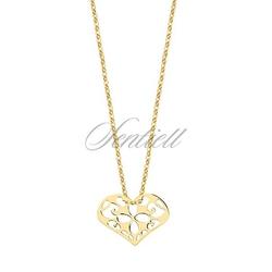 Srebrny naszyjnik pr.925 z zawieszką ażurowym sercem - pozłacany - żółte złoto