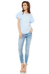 Błękitna casualowa bluzka z rękawami w formie motylków