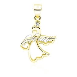 Srebrna zawieszka pr.925 pozłacany anioł z sercem - żółte złoto