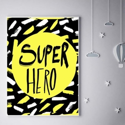 Super bohater na żółtym tle - plakat wymiar do wyboru: 60x80 cm