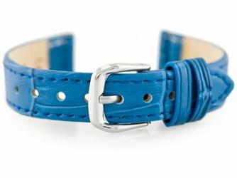 Pasek skórzany do zegarka W41 - niebieski - 12mm