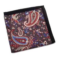 Wełniana szara poszetka w kolorowy wzór paisley