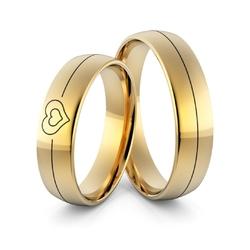 Obrączki ślubne z sercem i emalią - au-980