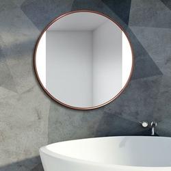 Okrągłe lustro sides z podświetleniem z ramą w kolorze miedzi