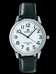 Czarno-biały zegarek meski na pasku PERFECT KLASYKA zp202a