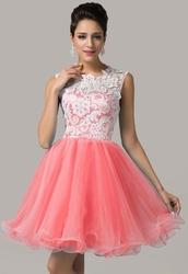 Sukienka na wesele  studniówkę z koronką - koralowa