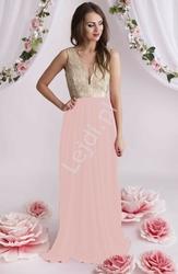 Suknia dla druhen świadkowych,  wieczorowa  różowo złota z kryształkami, 2099