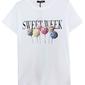 Biały t-shirt damski z lizakami z kryształkami i koralikami