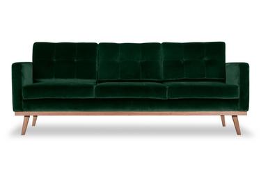 Sofa fern z funkcją spania welurowa 3-osobowa  welur bawełna 100 ciemnozielony
