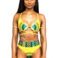 Żółte bikini z wysokim stanem z wzorem etno dashiki