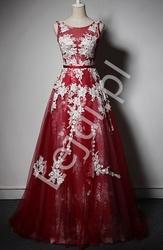 Fenomenalna suknia tiulowa, czerwone wino z białą koronką - anastazja