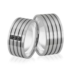 Obrączki srebrne szerokie z czarnymi cyrkoniami - wzór ag-382