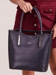 Włoska skórzana torebka shopper bag granatowa rovicky twr-50 - granatowy