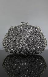 Unikatowa luksusowa torebka wieczorowa, ślubna z kryształkami osadzanymi ręcznie  nr 6