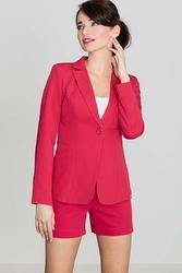 Elegancki czerwony żakiet na jeden guzik z wywijanym mankietem