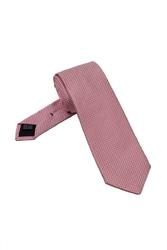 Elegancki krawat jedwabny Van Thorn w pepitkę w kolorze jasno różowym