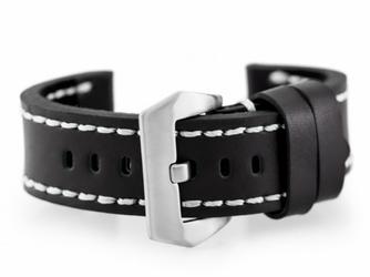 Pasek skórzany do zegarka W27 - PREMIUM - czarnybiałe - 20mm