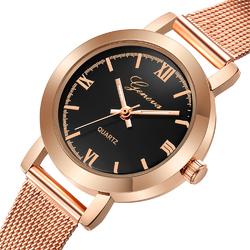 Zegarek damski GENEVA MESH różowe złoto czarny - rose gold black