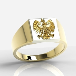Sygnet z żółtego i białego złota z orłem sj-24zbz - wysyłka w następny dzień roboczy - sprawdź dostępność