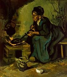 Peasant woman cooking by a fireplace, vincent van gogh - plakat wymiar do wyboru: 60x80 cm