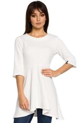 Ecru sukienka-tunika z rękawem 12