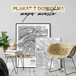Plakat w ramie - mapa dowolnej miejscowości , wymiary - 50cm x 70cm, kolor ramki - biały