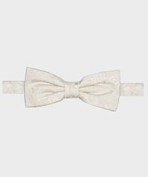 Muszka jedwabna męska biała z wzorem paisley