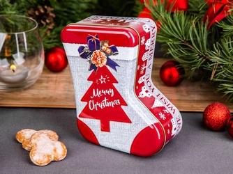 Puszka na ciasteczka i pierniki świąteczna altom design boże narodzenie skarpeta 17 x 13 x 7 cm