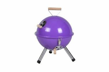 Grill ogrodowy węglowy okrągły, mini grill bbq kolor fioletowy