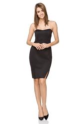Wieczorowa ołówkowa sukienka mini z gorsetem czarna t241
