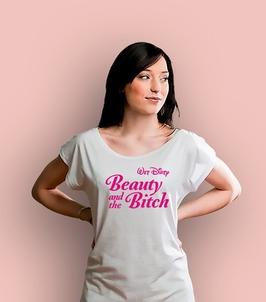 Beauty and the bitch t-shirt damski biały xxl